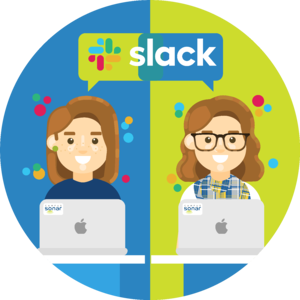 Michelle and Bri, two Sonarians, hold a conversation over Slack, a group chat application