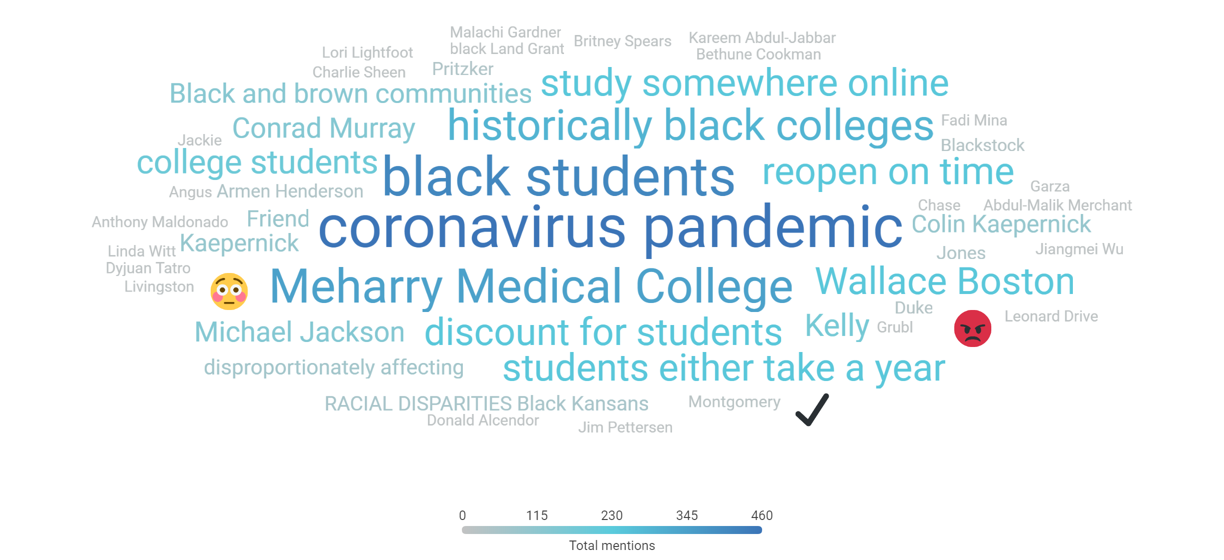 Word cloud showing top 50 topics higher ed-focused black mentions