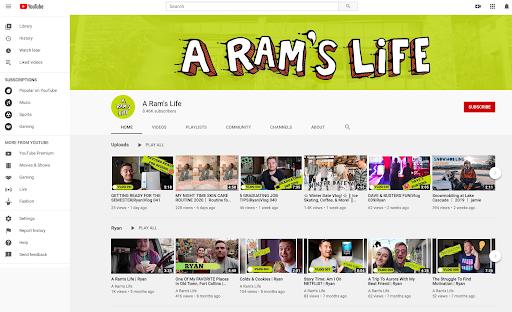 Screenshot of A Ram's Life YouTube channel