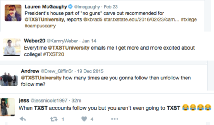 Examples of tweets that refer to the wrong Twitter account when talking about TXST