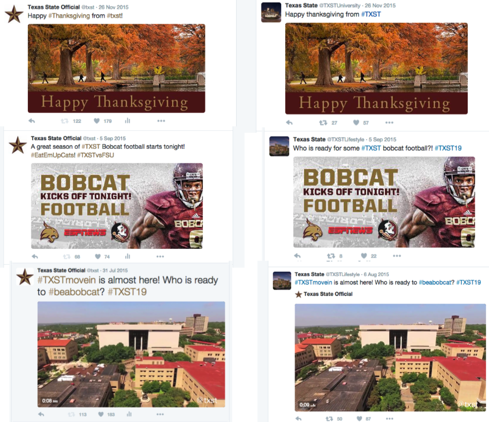 Tweets showing original content from @TXST adn the impersonation account