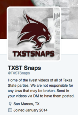 Twitter account in violation of @TXST's trademarks