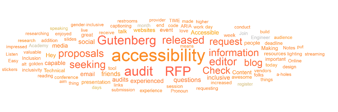 Word cloud showing top topics in the accessibility and inclusivity track