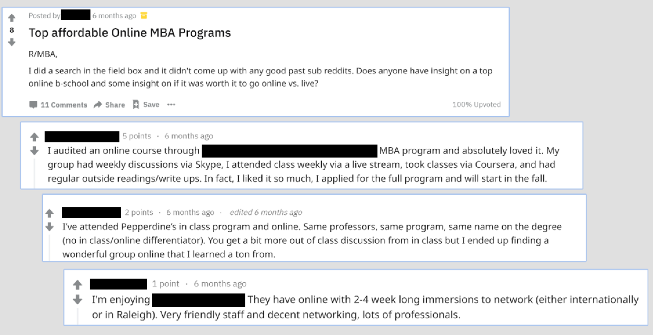 Reddit thread about online MBA programs