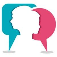 Male and female conversation bubbles