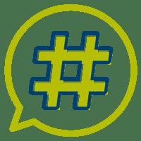 Hashtag in a speech bubble