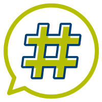 Hashtag in a speech bubble