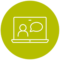 Circle with a computer showing a person chatting
