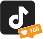 TikTok logo with 100 love notifications