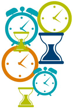 clocks and hourglasses signifying time management