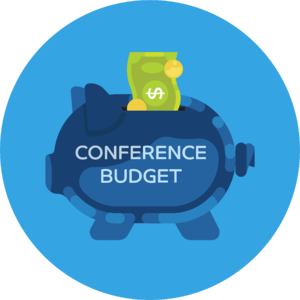 "Piggy bank labeled ""conference budget"""