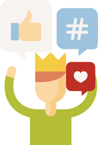 Influencer with a crown and social symbols, such as like, love, and hashtag