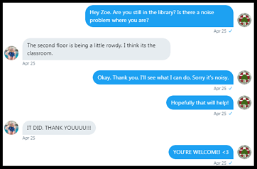 DM of a personal interaction on campus between Susie and a student