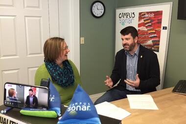 Liz Gross interviewing Tim Jones at Beloit College During Campus Sonar Live