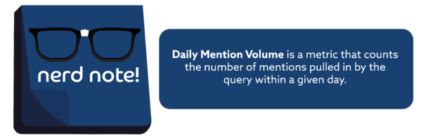 Nerd Note: Daily Mention Volume is a metric that counts the number of mentions pulled in by the query within a given day.