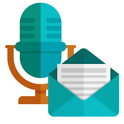 Podcast microphone and email newsletter