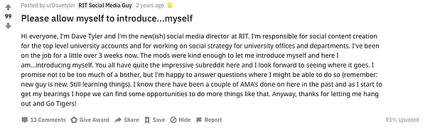 Reddit post from RIT Social Media Guy introducing himself as a representative of his school