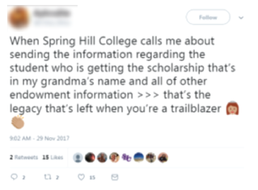 Tweet from an SHC alumnae about family