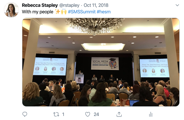 "Tweet from Rebecca Stapley, ""with my people"" sparking star emoji and hands raised emoji with photo of conference session"