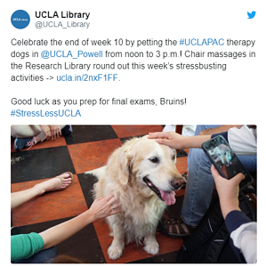 Tweet from the UCLA library about their self-care activities during finals, including therapy dogs