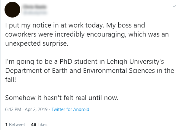 Tweet from PhD student about Lehigh University