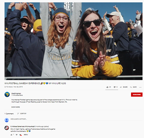 Screenshot of West Virginia University video with one comment