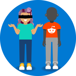 """The """"Blind Date"""", a woman stands with a blindfold on next to a mystery person wearing a Reddit shirt."""