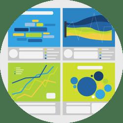 Four different dashboards showing online conversation