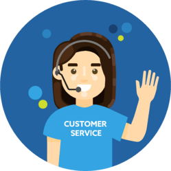 Smiling woman wearing a customer service shirt