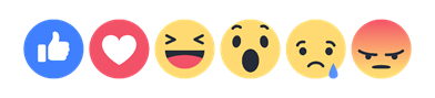 Facebook reactions (Like, Love, Haha, Wow, Sad, and Angry)