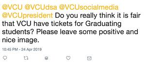 Sample VCU crisis tweet
