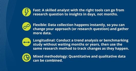 Description of the 4 Qualities of Modern Marketing: Fast, Flexible, Longitudinal, Mixed Methodology